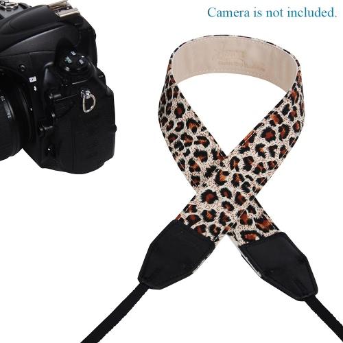 LYNCA Leopard Series Universal Camera Shoulder Strap Belt Cotton Superior Cowhide Material for SLR DSLR Canon Nikon