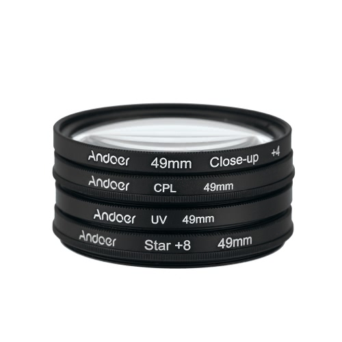 Andoer 49mm UV+CPL+Close-Up+4 +Star 8-Point Filter Circular Filter Kit Circular Polarizer Filter Macro Close-Up Star 8-Point Filter with Bag for Nikon Canon Pentax Sony DSLR Camera