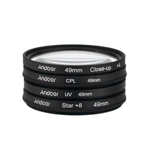 Andoer® 49mm UV + CPL + Primer plano + 4 + Estrella de 8 puntos Filtro Circular Juego de Filtro Polarizador Circular Macro de Filtro Filtro de Primer plano de la estrella 8-Point  con bolso para Nikon Canon Pentax Sony DSLR