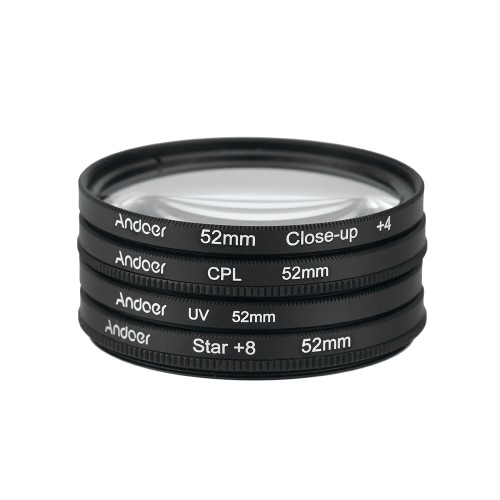 Andoer® 52mm UV + CPL + Close Up + 4 + Sterne 8-Punkt Filter Circular Filtersatz Circular Polarizer Filter Macro Close-Up Star-8-Punkt Filter mit Beutel für Nikon Canon Pentax Sony DSLR-Kamera