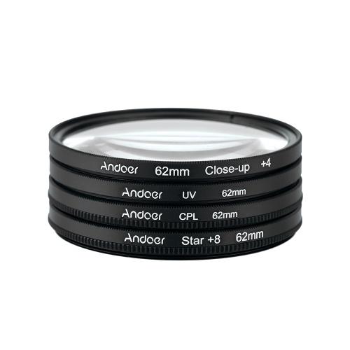 Andoer 62mm UV + CPL aus zweiter Hand + Nahaufnahme + 4 + Stern 8-Punkt-Filter Zirkularfilter-Kit Zirkularer Polarisatorfilter Makro Nahaufnahme Stern 8-Punkt-Filter mit Tasche für Nikon Canon Pentax Sony DSLR-Kamera