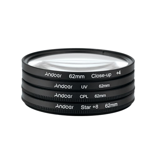 Andoer® 62mm UV + CPL + Close Up + 4 + Sterne 8-Punkt Filter Circular Filtersatz Circular Polarizer Filter Macro Close-Up Star-8-Punkt Filter mit Beutel für Nikon Canon Pentax Sony DSLR-Kamera