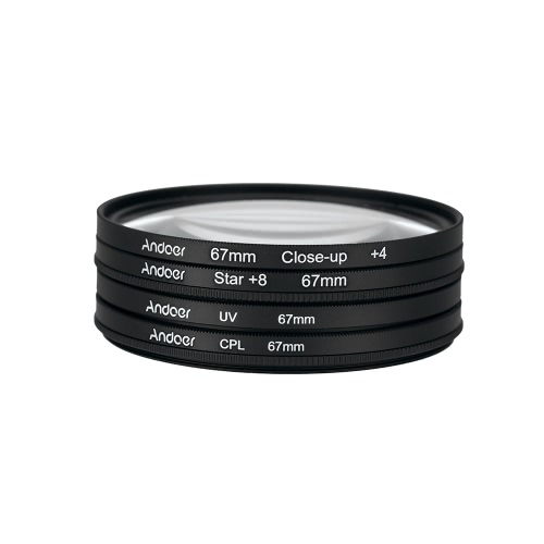 Andoer 67mm UV+CPL+Close-Up+4 +Star 8-Point Filter Circular Filter Kit Circular Polarizer Filter Macro Close-Up Star 8-Point Filter with Bag for Nikon Canon Pentax Sony DSLR Camera