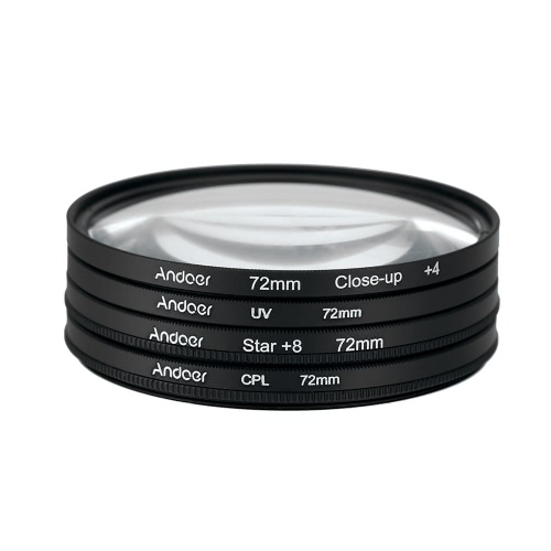 Andoer 72mm UV + CPL + Close-Up + 4 + estrela de 8 pontas filtro filtro Circular Kit Circular polarizador filtro Macro close-up estrelas 8-ponto de filtro com saco para Canon Nikon Pentax Sony DSLR câmera