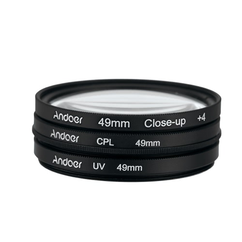 Andoer 49mm UV+CPL+Close-Up+4 Circular Filter Kit Circular Polarizer Filter Macro Close-Up Filter with Bag for Nikon Canon Pentax Sony DSLR Camera