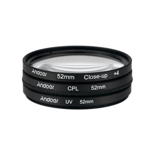 Andoer 52mm UV+CPL+Close-Up+4 Circular Filter Kit Circular Polarizer Filter Macro Close-Up Filter with Bag for Nikon Canon Pentax Sony DSLR Camera