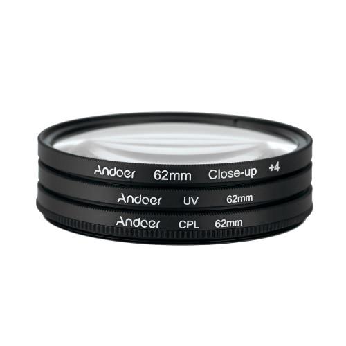 Andoer 62mm UV+CPL+Close-Up+4 Circular Filter Kit Circular Polarizer Filter Macro Close-Up Filter with Bag for Nikon Canon Pentax Sony DSLR Camera