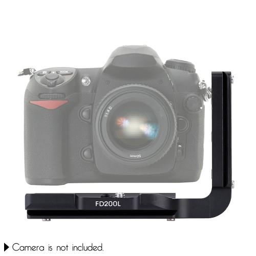 FD200L Black Aluminum Dedicated Camera Quick Release L-Plate Hand Grip Bracket with 1/4