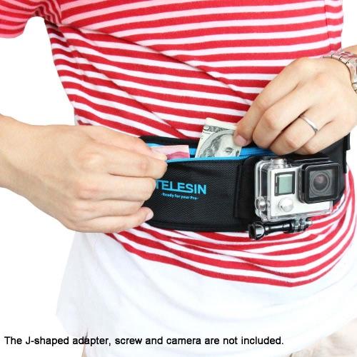 TELESIN Elastic Adjustable Waist Strap Belt with Pocket for GoPro Hero 4/3+/3/2/1 SJCAM Xiaomi Yi Xiao Yi Sport Camera Accessories