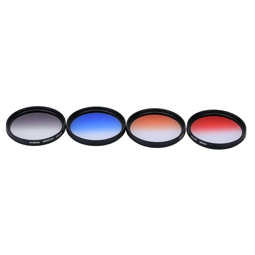 Andoer Professional 55mm GND Graduated Filter Set GND4(0.6) Gray Blue Orange Red Graduated Neutral Density Filter for Canon Nikon DSLR 55mm Camera Lens