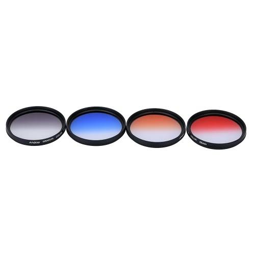 Andoer profesional 55mm GND se graduó GND4(0.6) Set gris azul rojo naranja graduado densidad neutra filtro para lente de cámara Canon réflex digital Nikon 55mm