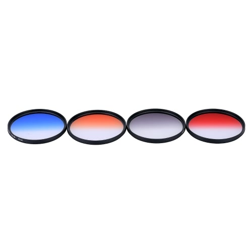 Andoer Professional 77mm GND Graduated Filter Set GND4(0.6) Gray Blue Orange Red Graduated Neutral Density Filter for Canon Nikon DSLR 77mm Camera Lens