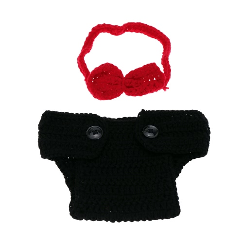 Baby Girl Infant Black Underpants Bow Tie Costume Green Crochet Knitting Soft Adorable Costume Clothes Photo Photography Props