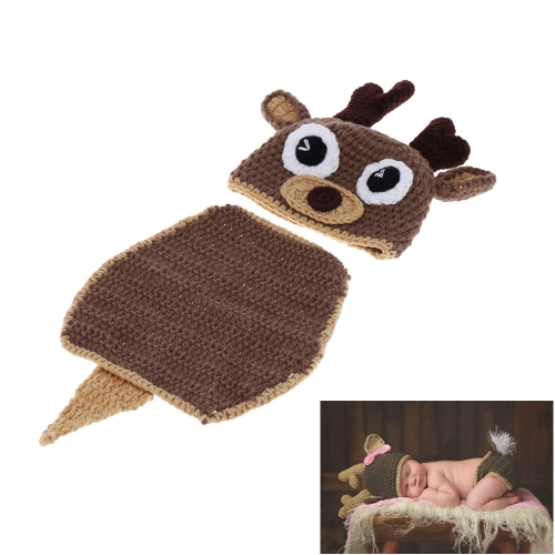 Baby Infant Deer Hat Cap with Tippet Crochet Knitting Costume Set Soft Adorable Clothes Photo Photography Props for Newborns