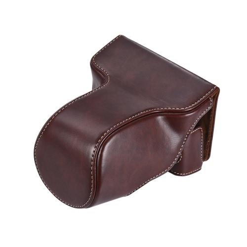 Classic Sac en cuir en cuir pour sacoche pour sacoche de protection avec sangle d'épaule pour Fuji Fujifilm X-A1 X-A2 X-A3 X-M1