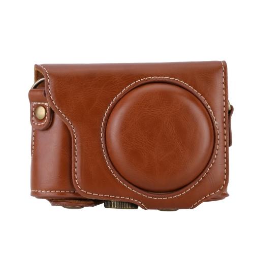 PU cuir cas caméra professionnelle sac pochette protectrice avec bandoulière pour 1/4 vis pour Casio EX-ZR2000 EX-ZR3500