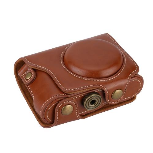 PU Leather Profesjonalne kamery skrzynki torba ochronna Pokrowiec z paskiem na ramię 1/4 śrubowe dla Casio EX-ZR2000 EX-ZR3500
