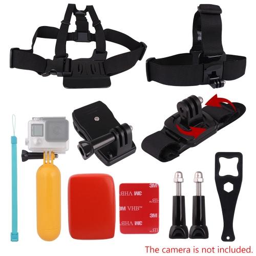Andoer 8in1 Brustgurt Kopfband Schwimmdock Grip Floaty Buoy 360 ° drehbarer Handschlaufe 360 ° Rotary-Rucksack-Hut-Klipp-Plastik Schlüssel-Werkzeug lange Schraube für GoPro Hero 4/3 + / 3 / 01.02 SJCAM SJ4000 SJ5000 Actionkameras