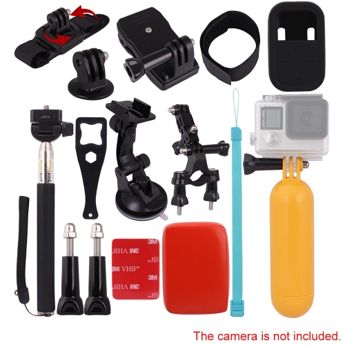 Andoer 11in1 Suction Cup Mount Holder Wrist Strap Telescopic Handheld Monopod Floating Grip Handlebar Seatpost Rotary Backpack Hat Clip etc for GoPro Hero 4/3+/3/2/1