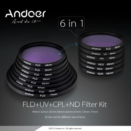 Andoer 58mm UV+CPL+FLD+ND(ND2 ND4 ND8) Photography Filter Kit Set Ultraviolet Circular-Polarizing Fluorescent Neutral Density Filter for Nikon Canon Sony Pentax DSLRs D2876