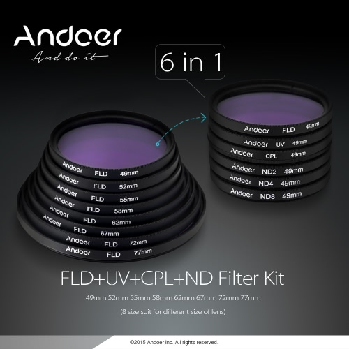 Andoer 67mm UV+CPL+FLD+ND(ND2 ND4 ND8) Photography Filter Kit Set Ultraviolet Circular-Polarizing Fluorescent Neutral Density Filter for Nikon Canon Sony Pentax DSLRs D2878