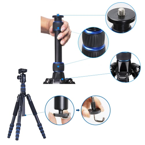 Trépied d'appareil photo DSLR Aluminium extensible Portable pliable en alliage