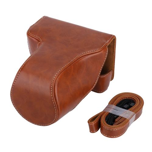 ショルダーストラップ付きのPUレザーILDCカメラケースバッグ 保護ポーチ キヤノンEOS M3に適用