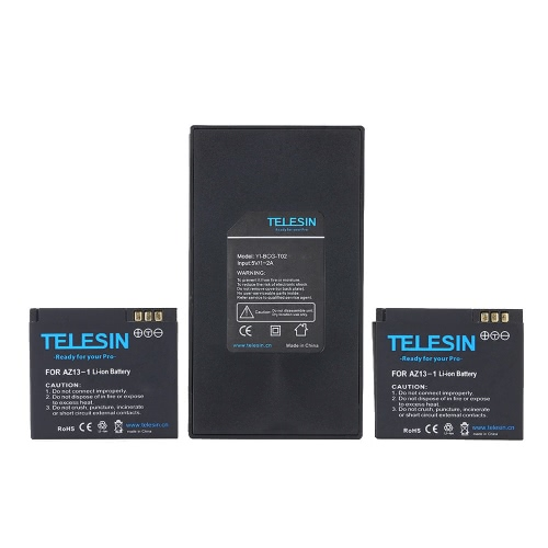 TELESIN Dual Charger + Battery Pack 2pcs 3.7V 1010mAh Li-ion Batteries for Xiaomi Yi Xiaoyi Action Sports Camera