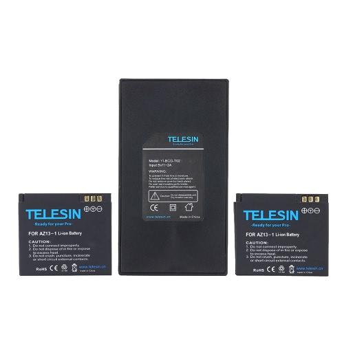 Cargador Dual TELESIN + batería Pack 2pcs 3.7V baterías de Li-ion de 1010mAh para Xiaomi Yi Xiaoyi cámara de deportes de acción