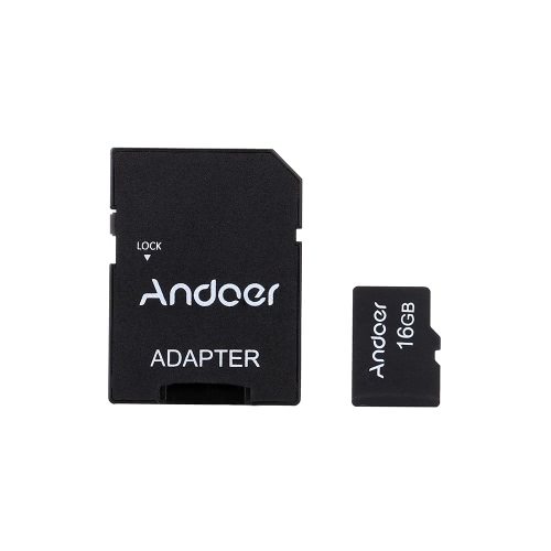 Andoer 16GB Class 10 Memory Card TF Card + TF Card Adapter for Camera Car Camera Cell Phone Table PC Audio Player GPS