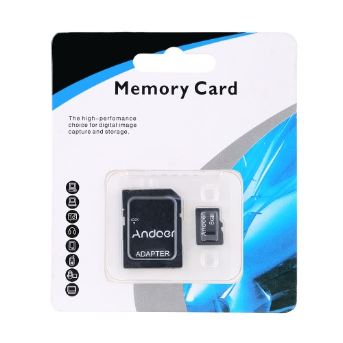 Andoer 8GB Class 10 Memory Card TF Card + TF Card Adapter for Camera Car Camera Cell Phone Table PC Audio Player GPS