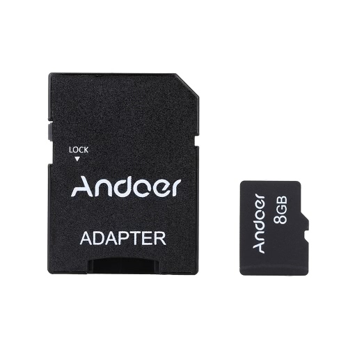 Andoer 8GB Class 10 Memory Card TF Card + Adapter + Lector de tarjetas USB Flash Drive