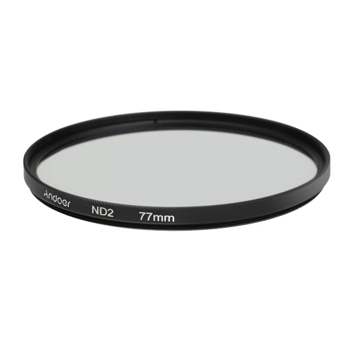 Andoer 77mm ND2 Filter Neutral Density Photography Filter for Nikon Canon Sony DSLR Cameras