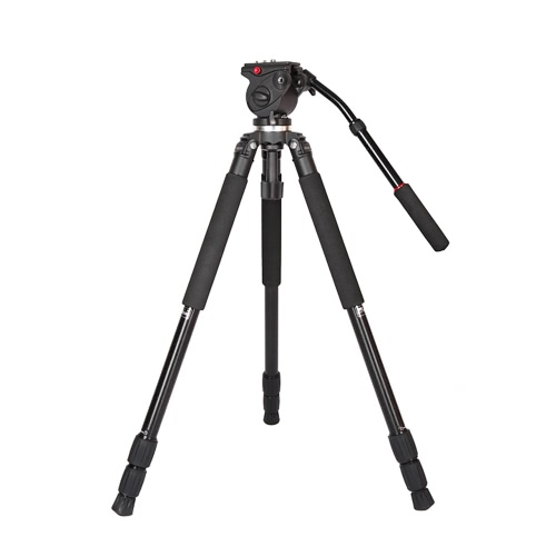 JY0509A Aluminum Alloy DSLR Photography Camera Camcorder Video Tripod with Fluid Drag Head Padded Bag