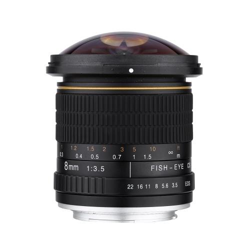 Секундомер Kelda 8mm f / 3.5 170 ° Ультра широкоугольный объектив с оптическим кружевом для фотокамер Canon EOS DSLR - полнокадровая совместимость