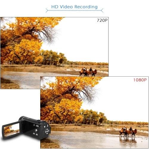 Zweiter Hand ORDRO HDV-V7 1080P Digitalkamera mit Full HD-Auflösung Camcorder max. 24-Megapixel-16-fach-Digitalzoom mit drehbarem 3,0-Zoll-LCD-Bildschirm zur Unterstützung der Gesichtserkennung
