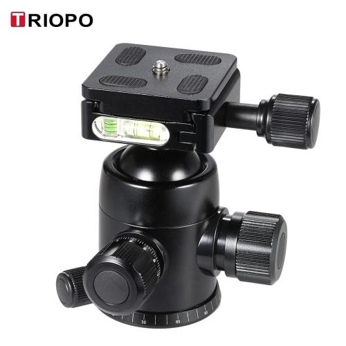 Шариковая головка штатива TRIOPO B-2, бывшая в употреблении, 360-градусная панорамная головка с встроенными двойными спиртовыми уровнями и предохранителем для зеркальных фотоаппаратов с максимальной нагрузкой 8 кг