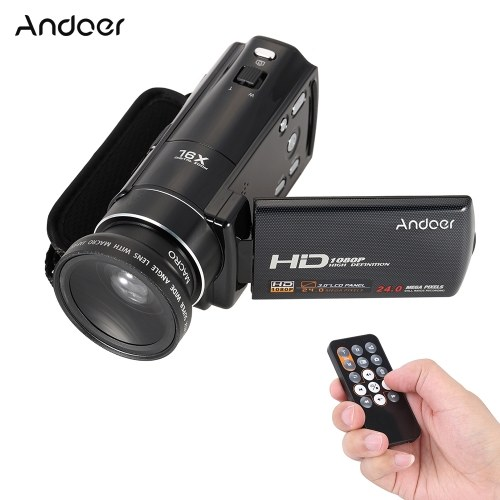 "Caméra vidéo numérique Full HD Andoer HDV-V7 1080p avec caméscope Max 24 méga pixels Zoom numérique 16 × avec écran ACL rotatif de 3,0 ""avec objectif 375 × grand-angle"