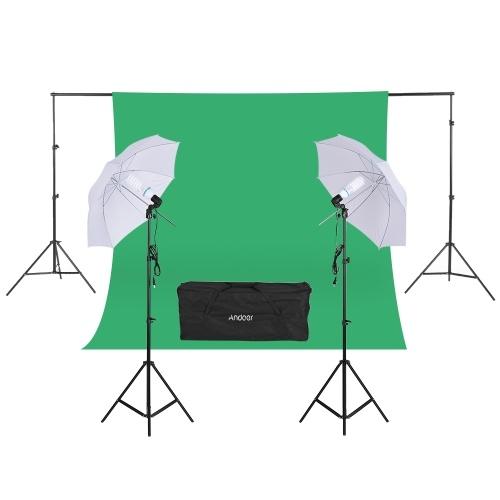 """秒針Andoerの写真のキット2 * 3mの背景スタンド1.8 *緑のMuslinの背景2個135W 5500K白い昼光電球2回転のソケット2Pcs 33 """"白い柔らかいライトの傘2Pcsライトスタンド写真スタジオ"""