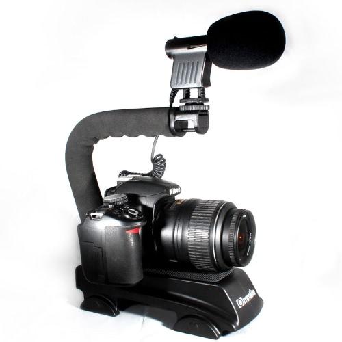Wheel-style Bracket Video Handle Handheld Stabilizer Grip for DSLR SLR Camera Mini DV Camcorder