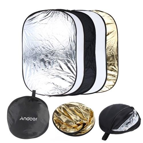 """Andoer de seconde main 24 """"* 36"""" / 60 * 90cm 5 en 1 (Or, argent, blanc, noir, translucide) Multi-portable pliable Studio Photo Photographie Réflecteur"""