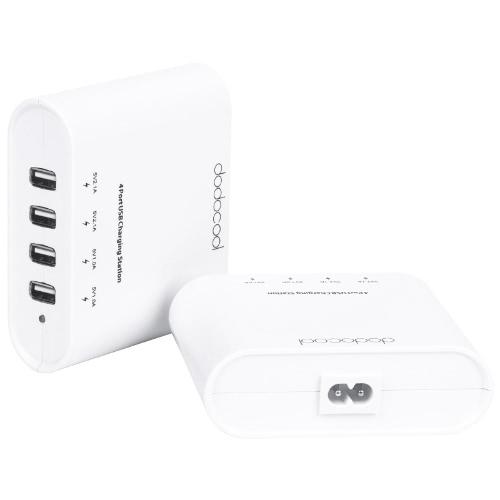 Adaptador de alimentação do carregador USB Dodocool de 4 portas para iPhone 5C / 5S / 5 iPad Tablet de iPod Câmera digital Samsung 5V 1A / 2.1A Plugue branco do Reino Unido