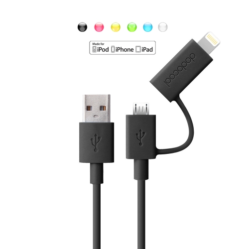 dodocool Apple Certified 2-in-1 Lightning 8pin+Micro USB Charge/Sync Cable for iPhone 7 Plus/7/SE/6s Plus/6s/6 Plus/6/5/5s/5c/ Samsung HTC LG Smartphones Tablet  Black