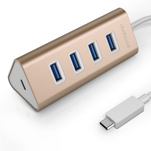Second Hand dodocool Aluminium USB Typ-C-Stecker auf 4-Port USB 3.0-Hubadapter mit USB-C-Buchse Ladeanschluss PD für neues MacBook und mehr Gold