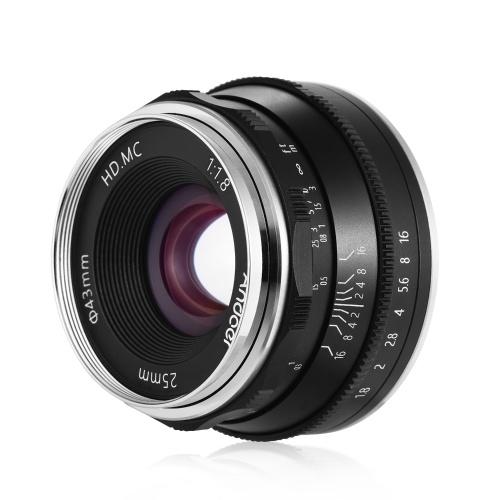Andoer 25mm F1.8 Objectif à mise au point manuelle Objectif à grande ouverture sans miroir Objectif à monture E