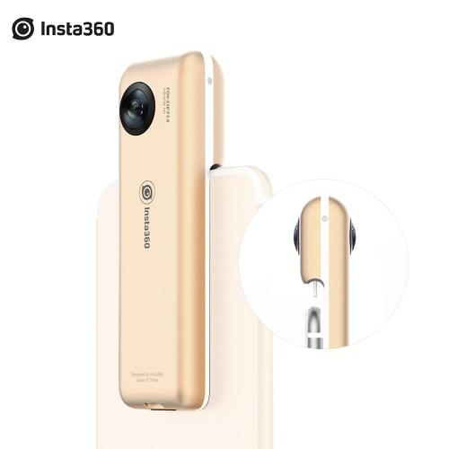 Insta360 Nano Złota Edycja limitowana 3K Mini HD VR Panorama 360 ° panoramiczne kamery wideo Podwójny 210 ° szerokokątny obiektyw Fisheye w / VR Słuchawki Okulary Pomoc na żywo 360 Livestream Broadcast Facial Beauty akcję dla iPhone 7/7 PLUS / 6s / 6s Plus / 6 Smartphone