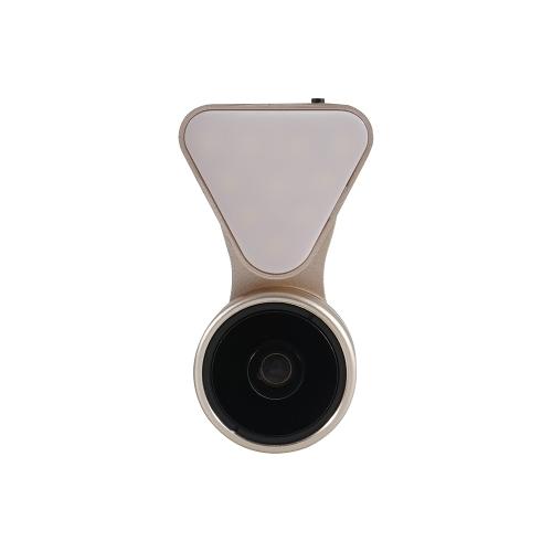 Modne światło Selfie Mini Wyjątkowe piękno Selfie Światło Led z obiektywu Uniwersalne 3 w 1 zestawy obiektywnych aparatów fotograficznych Obiektyw 0,36 X obiektyw szerokokątny + 15 x makra obiektyw + światło samowybra