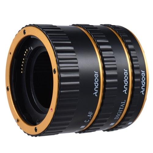 Andoer Kolorowe Metal TTL Auto Focus AF Macro Extension Tube Ring for Canon EOS EF EF-S 60D 7D 5D II 550D Złota