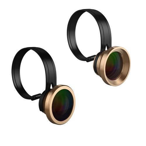 Dodocool Universal 3-in-1 Clip-on 180° Fisheye + 0,67 X Weitwinkel + 10 X Makro Kamera-Objektiv-Kit für iPhone Samsung LG und anderen Android Smartphones Gold