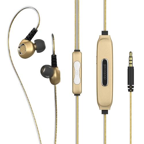 dodocool EL Glowing Blue Light Ecouteurs intra-auriculaires stéréo sport 3,5 mm Fiche audio avec micro Annulation de bruit Sweatproof Gold